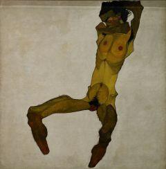 Egon Schiele, Nu masculin assis (Autoportrait), huile sur toile, 1910, Musée Leopold, Vienne.