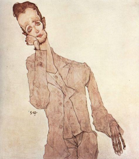 Egon Schiele, Portrait de Karl Zakovsek, Huile sur toile, 100 x 90 cm, 1910, Collection particulière, New-York.