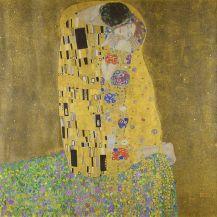 Gustav Klimt, Le Baiser, Huile et feuille d'or sur toile, 180 x 180 cm, Österreichische Galerie Belvedere, Vienne.