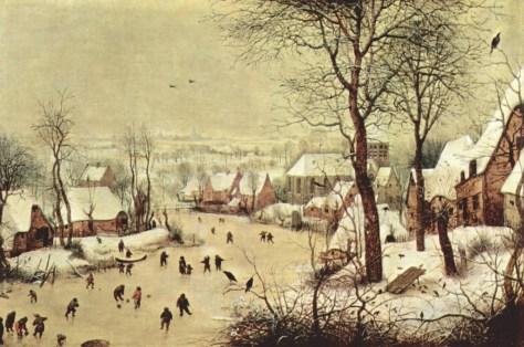 Pieter Bruegel l'Ancien, Paysage d'hiver avec patineurs et trappe à oiseaux, Huile sur bois, 37 × 55,5 cm, 1565, Musées Royaux des Beaux-Arts de Bruxelles.