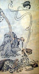 Un couple de Rokurokubi représenté sur une estampe réalisée par le célèbre artiste japonais Hokusai (1760-1849).