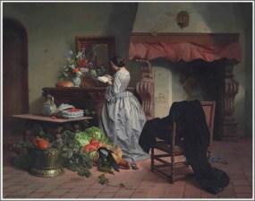 David De Noter, La lecture, 1858.