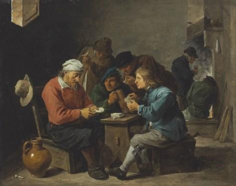 David Teniers le Jeune, Paysans jouant aux cartes dans un intérieur, Huile sur cuivre, 24,1 x 30,8 cm.