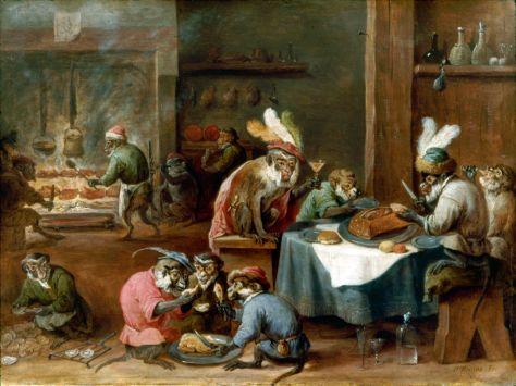 David Teniers le Jeune, Singes prenant un repas dans une cuisine, Huile sur cuivre, 27,7 x 37,3 cm, Château de Johannisburg, Aschaffenbourg, Allemagne.