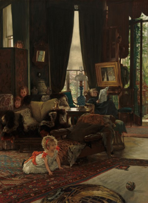 James Tissot, Hide and seek (Cache-cache), Huile sur toile, 73,4 x 53,9 cm, v.1877, National Gallery of Art, Washington.