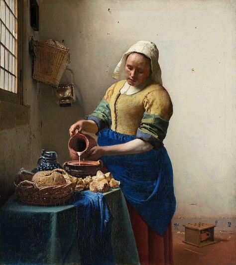 Johannes Vermeer, La Laitière, Huile sur toile, 45,5 x 41 cm, 1658, Rijksmuseum, Pays-Bas.