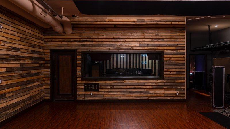 wooden slat wall in studio