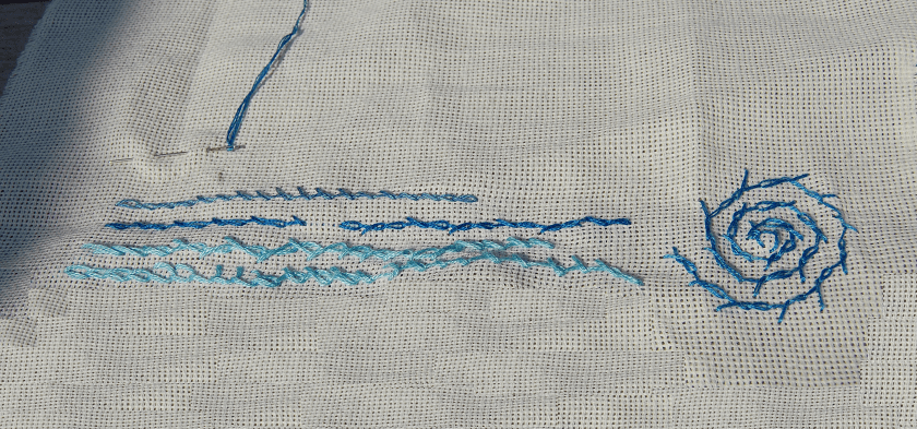 borduursteken gedraaide kettingsteek embroidery stitches barred chain