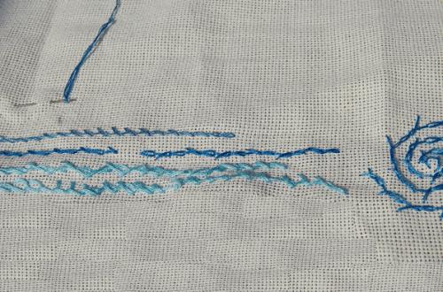 embroidery barred chain stitch borduren gedraaide kettingsteek