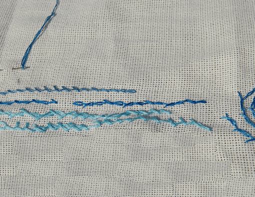 embroidery barred chain stitch borduren gedraaide kettingsteek