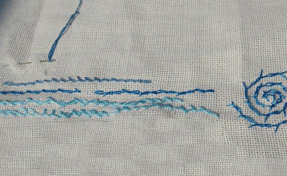 borduursteken gedraaide kettingsteek embroidery stitches barred chain
