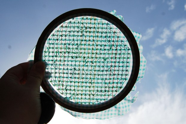 borduren couched filling stitch