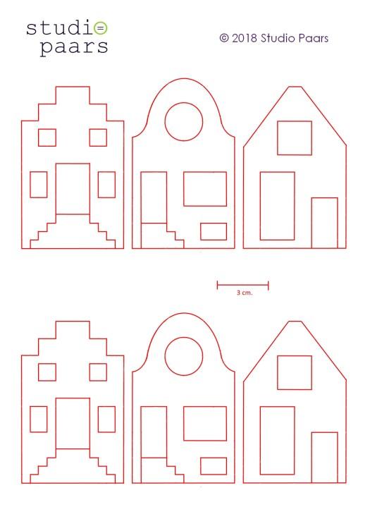 patroonblad van het gratis vilt patroon hollandse huisjes van studio paars