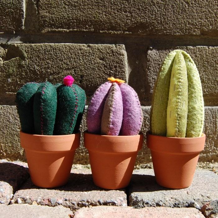 cactus maken van vilt tijdens een workshop van studio paars