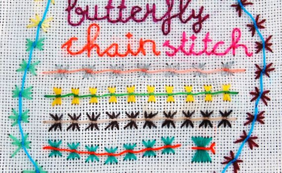 butterfly chain stitch door studio paars