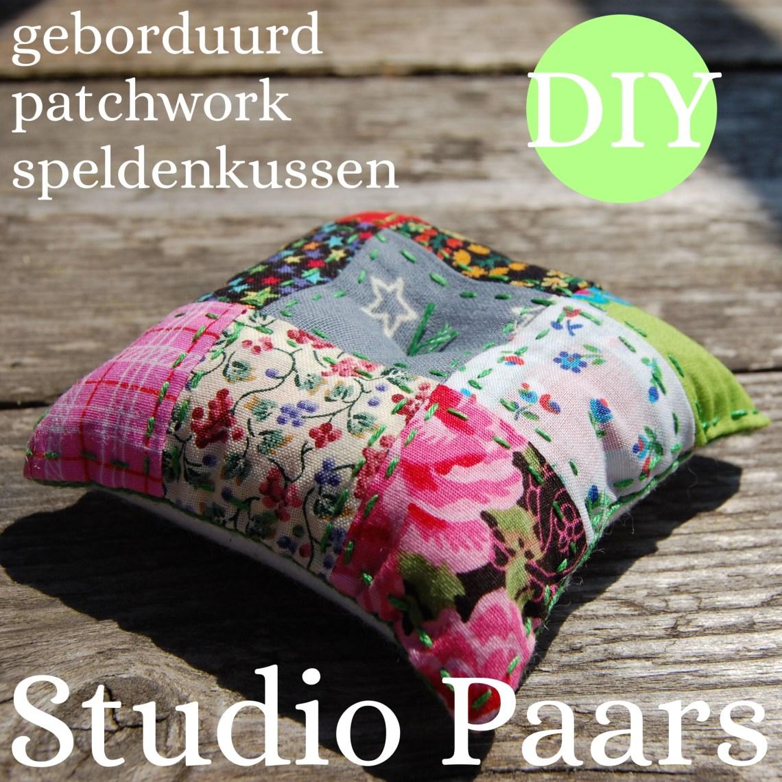 diy zelf een patchwork speldenkussen maken: tutorial door studio paars