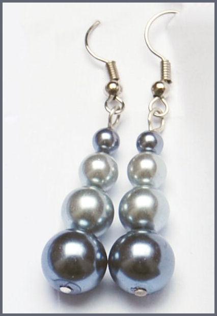 oorbellen glasparels grijs door studio paars