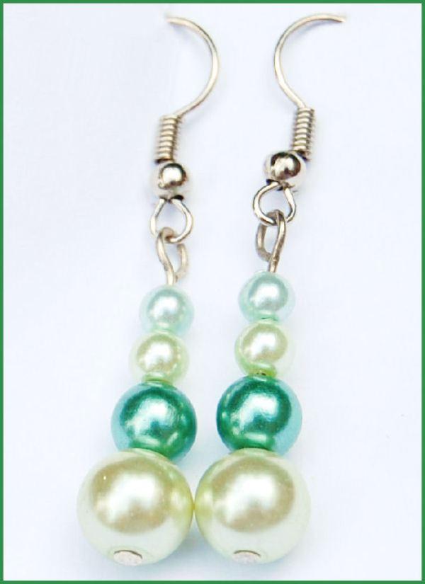 oorbellen glasparels groen door studio paars