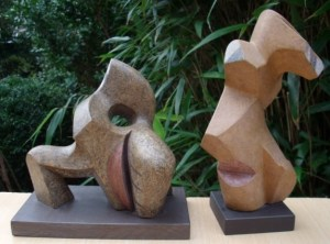 Peter Fitzgerald stoneware sculptures. Shuffle (left) and Sideways Glance (right).
