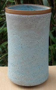 Deirdre Burnett thrown and altered turquoise cylinder