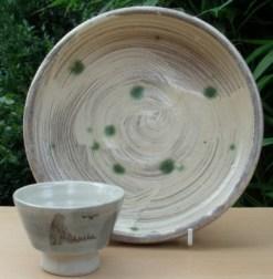 William Marshall hakeme bowl and brush decorated guinomi.