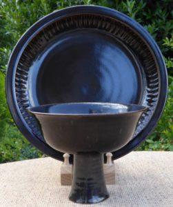 Poh Chap Yeap tenmoku platter and footed bowl - Summer 2018