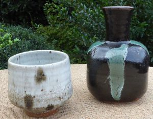 Bill Marshall: Teabowl and tenmoku with green glaze vase.
