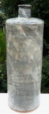 Bill Marshall: 59 cm. tall stoneware vase with hakeme glaze decoration.