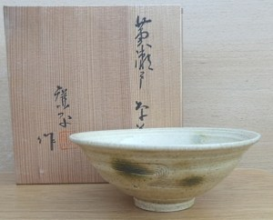Kohei Kato. An open Seto chawan with impressed seal mark.  The height is 5.8 cm (2.3 inches) and the maximum external diameter is 15.2 cm (6.0 inches). Price £85