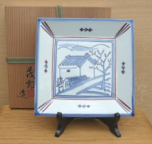 Shigero Yasuda. A porcelain square dish with brush decoration by this Kyoto based artist. Artist's marks on the back. Yasuda san was a student of Kenkichi Tomimoto. The height of the dish is 2.3 cm (0.9 inches) and it is 21.6 cm square (8.5 inches). Price £145