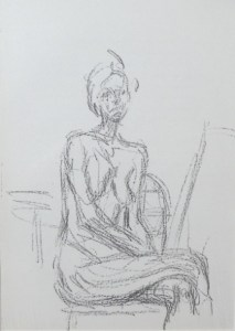 Alberto Giacometti (Swiss-French 1901 – 1966). Untitled Nude. Unsigned mounted original lithograph on paper. Pulled from Derrière le Miroir, no. 119 published by Maeght Éditeur, Paris. Sheet size is 38.1 by 27.9 cm (15.0 by 11.0 inches). £90