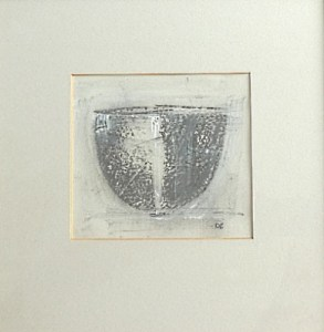 Robin Welch - Black & White Bowl '98 framed mixed media on paper. Initialled in painting + fully signed, titled and dated on the reverse. Note: photographed behind glass. The  image is 14.0 cm by 15.5 cm and the frame is 33.5 cm square. £265
