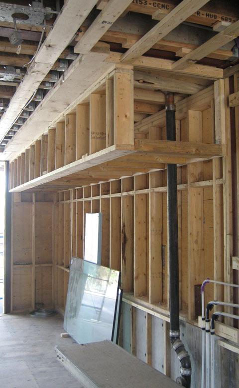 Detail  bulkhead framing  home building in Vancouver