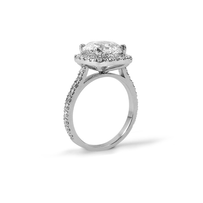 Cushion Cut Shared Claw Diamond Halo Engagement Ring