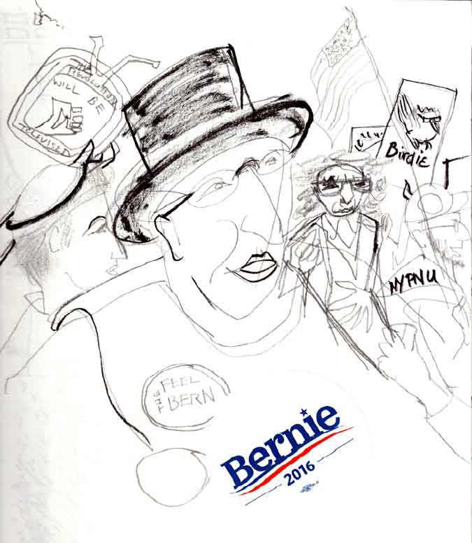 Bernie Sanders Rally | Margaret Hurst Illustration