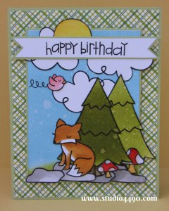 Happy Birthday Materials used: Bon Voyage, Critters in the Forest, Critters on the Savanna, Happy Haunting, and Home Sweet Home (Lawn Fawn), Sentiment Sampler (Paper Smooches); Designer Paper - Lawn Fawn; Cardstock - American Crafts, Knight; Distress Inks; Distress Markers and Glossy Accents (Ranger).