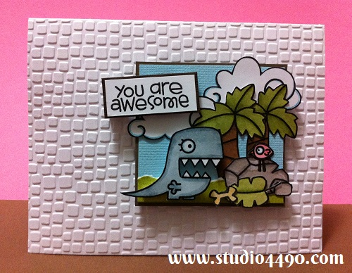 You are Awesome Materials used: Stamps - Cuteasaurus, Forest Whimsy, Spring Groves, Summer Groves (Paper Smooches); Cardstock - American Crafts, Knight; Distress Inks; Distress Markers; Embossing Folder - Cuttlebug.
