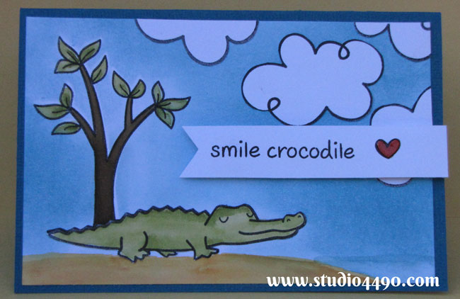 Smile Crocodile - Take 2 Materials used: Bon Voyage, Critters Down Under, Home Sweet Home (Lawn Fawn); Cardstock - American Crafts, Knight; Distress Ink, Distress Markers; and Glossy Accents (Ranger).