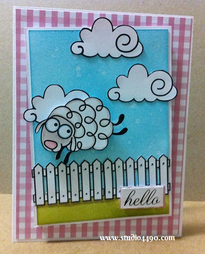 Hello Materials used: Stamps - Party Posse, Salutations, Summer Groves (Paper Smooches); Cardstock - Knight; Designer Paper - Unknown; Distress Inks and Distress Markers.