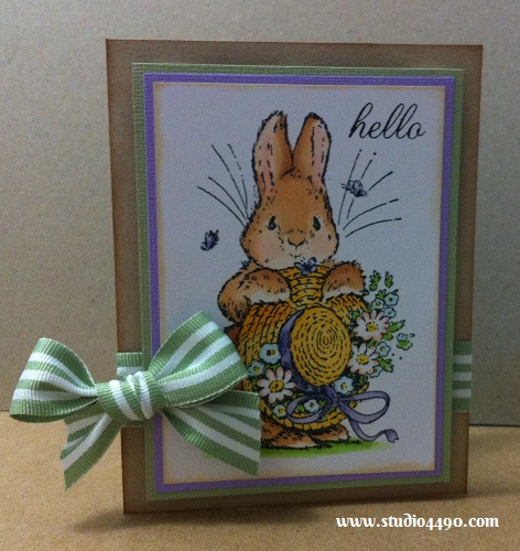 Hello Materials used: Stamps - Bonnet Bunny 1440K (Penny Black), Salutations (Paper Smooches); Cardstock - American Crafts, Knight; Copic Markers and Ribbon (Unknown).
