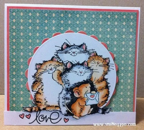 Love Materials used: Stamps – Purrr-fect Friends! 1746K (Penny Black), Simply Said (Paper Smooches), Critters Ever After (Lawn Fawn); Cardstock – American Crafts, Knight; Patterned Paper - 6x6 Paper Pad - True Love (Basic Grey); Copic Markers; Dies – Spellbinders Nestabilities – Standard Circles Small, Classic Scalloped Circles Large.