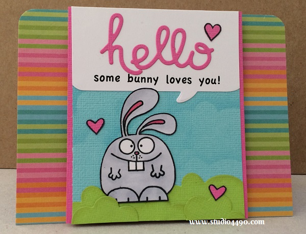 Hello, some bunny loves you Materials used: Stamps - A Little Lovin, Warm Hearts (Paper Smooches); Wise Dies - Clouds, Hello Words (Paper Smooches); Lawn Cuts - LF485 (Lawn Fawn); Cardstock - American Crafts; Designer Paper - 6x6 Paper Pad - Poolside (Party with Amy Locurto/Pebbles); Copic Markers and Distress Ink.