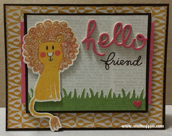 "Hello Friend Materials used: Stamps - Chit Chat, Warm Hearts (Paper Smooches); Dies - Hello Words (Paper Smooches); Die Cuts - Hello Sunshine (KAISERCraft); Designer Paper - 6-1/2"" Paper Pad - Hello Sunshine (KAISERCraft), Paper from Simple Stories; Cardstock (American Crafts); Mister Huey's Colour Mist (Studio Calico); Stickles - Crystal (Ranger) and Glossy Accents (Ranger)."