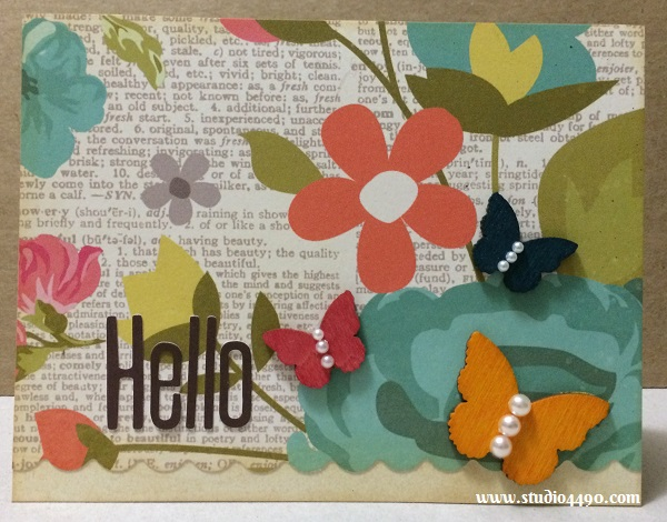 Hello Materials used: Alphabeans - Fig Brown (Jillibean Soup); Designer Paper (Simple Stories); Wood Veneer - Butterflies (Studio Calico); Mists - Mister Huey's Colour Mists (Studio Calico); Pearls (KaiserCraft) and Distress Ink (Ranger).