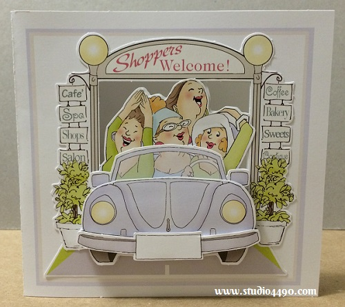 Shoppers Welcome Materials Used:  Finmark Decoupage Card Kit (Finmark); Cardstock - Various.