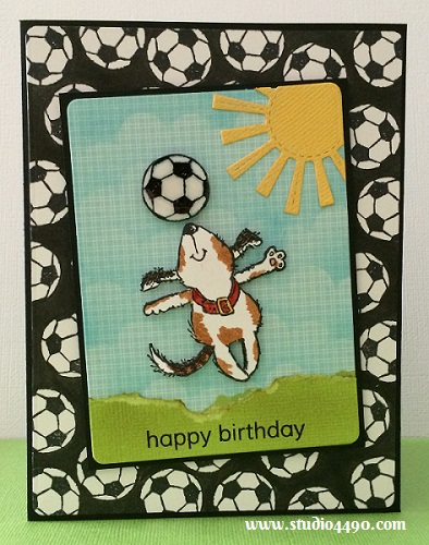 Happy Birthday Materials used: Stamps - Sunny Days (Penny Black); A Little Sentimental (Clearly Besotted); Dies - Blueprints 5 (My Favourite Things), Lawn Cuts - Spring Showers, Grassy Border (Lawn Fawn); Designer Paper - 6x6 Paper Pad - Hello Sunshine (Lawn Fawn); Cardstock - American Crafts; Distress Ink; Distress Markers; Glossy Accents and Wink of Stella - Clear.