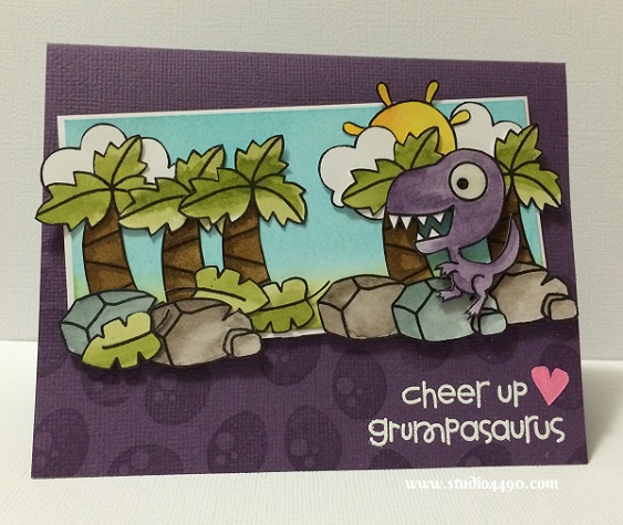 Cheer Up Grumpasaurus Materials used: Stamps - Cuteasauraus, Eco Friendly (Paper Smooches); Cardstock - American Crafts; Distress Inks, Distress Markers; Glossy Accents (Ranger) and Wink of Stella.