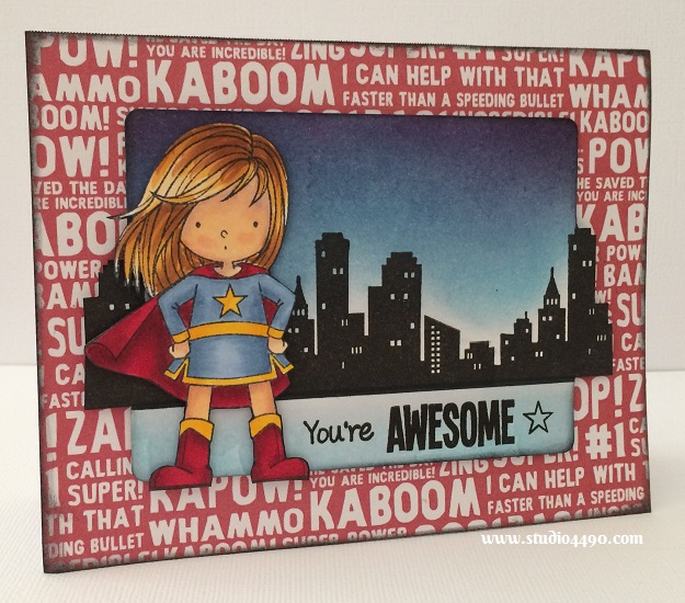"You're Awesome Materials used:  Stamps - Birdie Brown You're Awesome (My Favourite Things); Dies  - Die-Namics Blueprints 5 (My Favourite Things); Designer Paper - Party with Amy Locurto ""Boy"" (Pebbles Inc.); Distress Inks and Copic Markers."