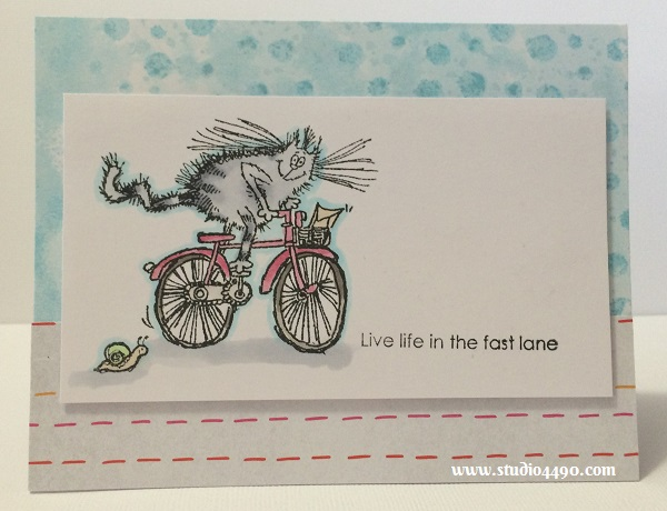 Live Life in the Fast Lane Materials used:  Stamps - You're Retro! (Penny Black); Cardstock - Unknown; Designer Paper - Rise & Shine (Amy Tangerine/American Crafts); Copic Markers; Embossing Paste - Wendy Vecchi; Distress Spray - Tumbled Glass (Tim Holtz/Ranger).