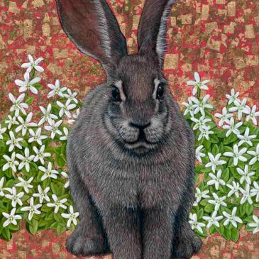 Riverine Rabbit bu Marc Alexander from his 'In The Balance' series, oil and gold leaf on canvas, 60cm by 50cm, (2015).
